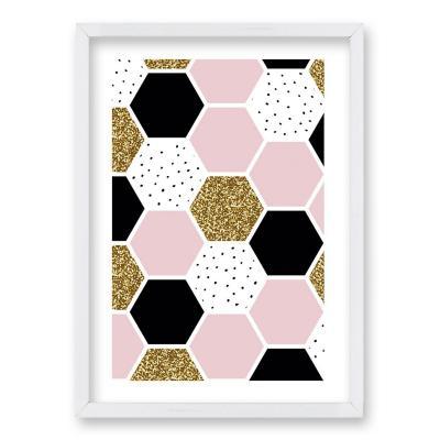 Cuadro 70x50 cm ilustración panal rosa