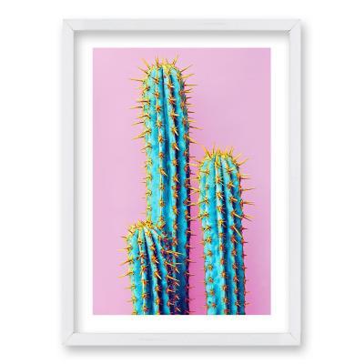 Cuadro 40x30 cm ilustración cactus neon