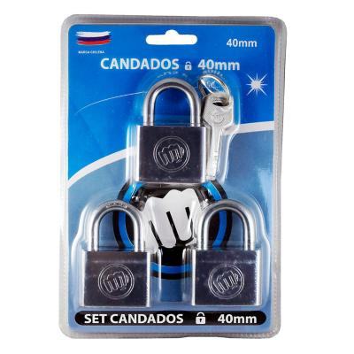 Set de 3 candados de acero de 40 mm