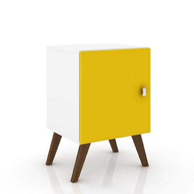 Velador con puerta blanco amarillo 57x37x40 cm