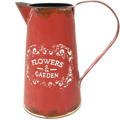 Plantero metal jarra rojo 23 cm