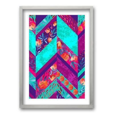 Cuadro 70x50 cm ilustración flor poligonal