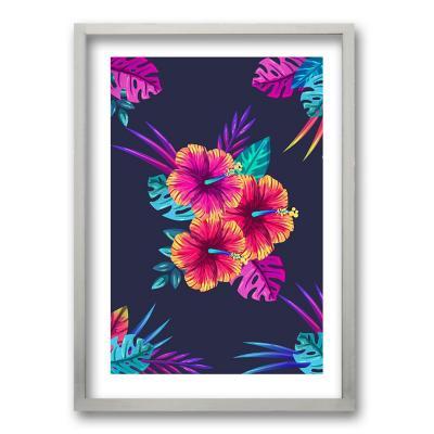 Cuadro 40x30 cm ilustración hibiscus