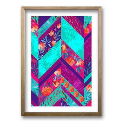 Cuadro 50x35 cm ilustración flor poligonal
