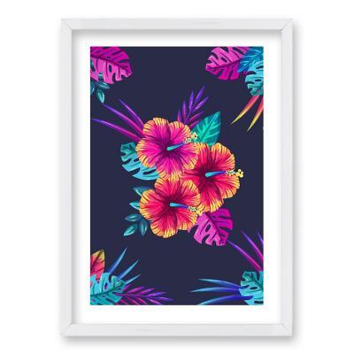 Cuadro 70x50 cm ilustración hibiscus