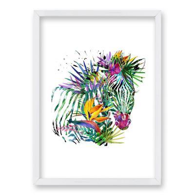 Cuadro 40x30 cm ilustración color zebra