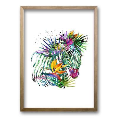 Cuadro 70x50 cm ilustración color zebra