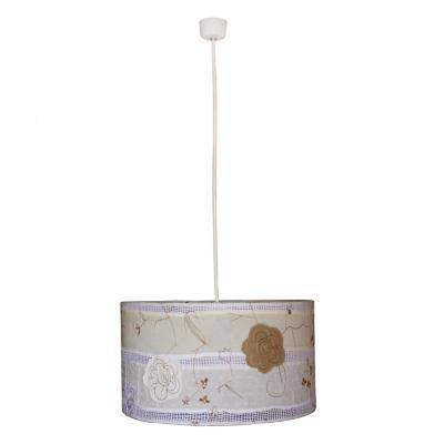 Lámpara colgante tambor flores bordadas tela 1 luz E27