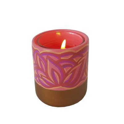 Portavela cerámica pintada a mano rosado