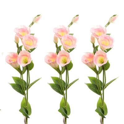 Set 3 flores lisianthus artificial rosado