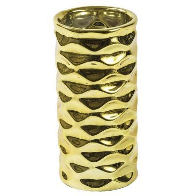 Florero cerámica 21 cm dorado