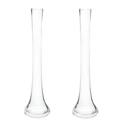 Set 2 floreros de vidrio flauta 40 cm