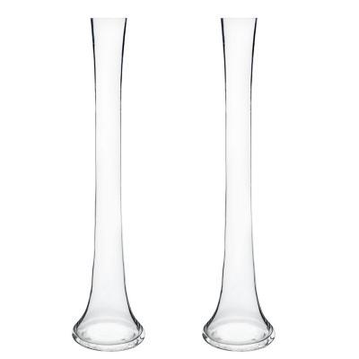 Set 2 floreros de vidrio flauta 50 cm