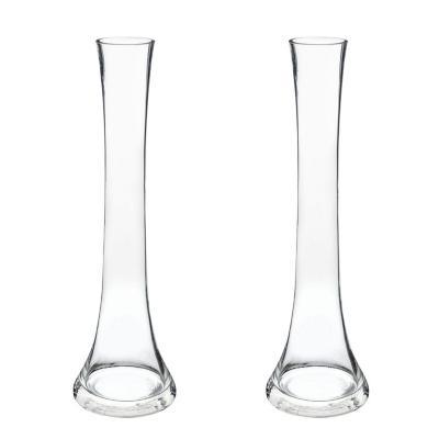 Set 2 floreros de vidrio flauta 30 cm