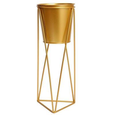 Maceta con pedestal metal dorado  30 cm