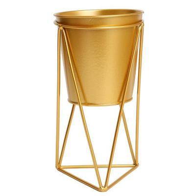 Maceta con pedestal metal dorado  20 cm