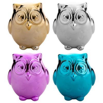 Set de 4 alcancías de cerámica diseño búho