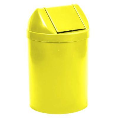 Basurero redondo 14 lts tapa vaiven amarillo