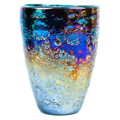 Florero vidrio 24x16 cm texture turquesa
