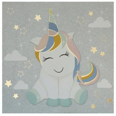 Canvas Unicornio gris 30x30 cm
