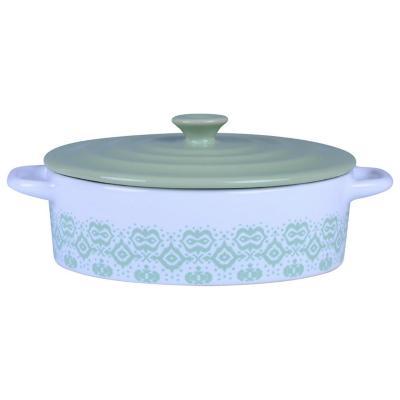 Fuente cerámica 1 l blanca-verde