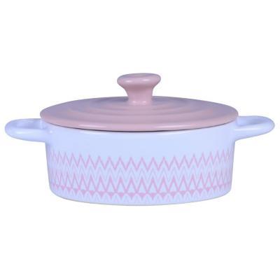 Fuente cerámica 350 ml blanca-rosa
