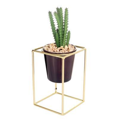 Planta artificio pedestal suculenta cubo 23 cm