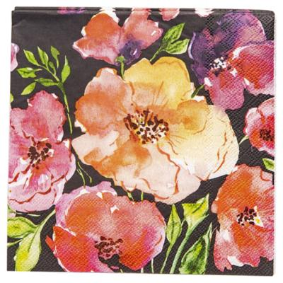 Servilleta de papel 33x33 cm flor negra 20 unidades