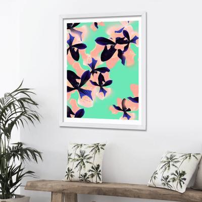 Cuadro 40x30 cm ilustración flores neon