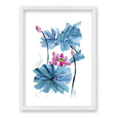 Cuadro 40x30 cm ilustración acua flor