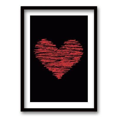 Cuadro 70x50 cm ilustración corazon lineal