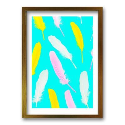 Cuadro 50x35 cm ilustración plumas neon
