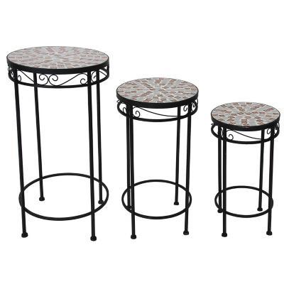 Set de 3 mesas apoyo mosaico
