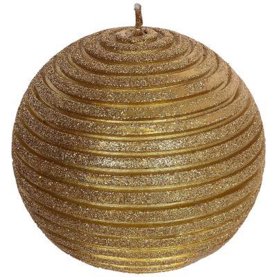 Vela decorativa ranuras Dorado 9 cm