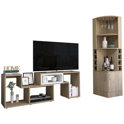 "Bar esquinero + rack extensible TV 40"" rovere-blanco"