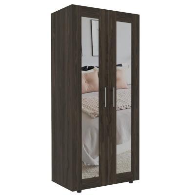 Clóset con espejo 2 puertas 180x80x48 cm coñac/blanco