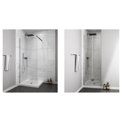 Mampara fija 500x1900 6mm easy clean + Mampara puerta plegable 700x1900 6mm easy clean