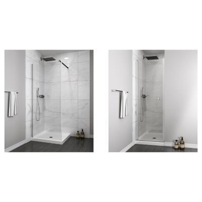 Mampara fija 600x1900 6mm easy clean + Mampara puerta abatible 800x1900 6mm easy clean