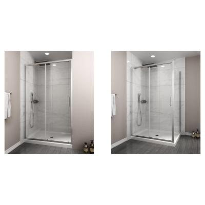 Mampara premium corredera frontal 1500x1900 6mm easy clean + Mampara side panel corredera 800x800x1900 6mm easy clean