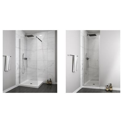 Mampara fija 300x1900 6mm easy clean + Mampara puerta abatible 800x1900 6mm easy clean
