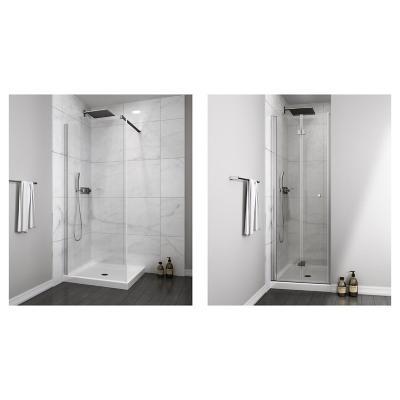 Mampara fija 300x1900 6mm easy clean + Mampara puerta plegable 700x1900 6mm easy clean