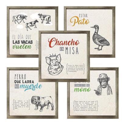 Set 5 cuadros frases chilenas 20x20 marco plateado