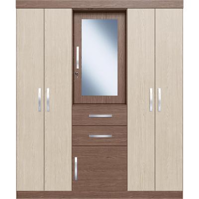 Clóset con espejo 2 cajones 6 puertas 200x168x47 cm