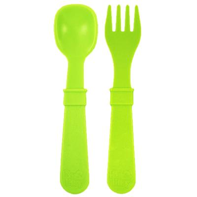 Set tenedor + cuchara infantil verde limon