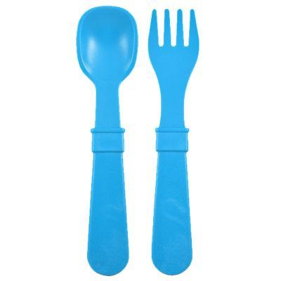 Set tenedor + cuchara infantil azul