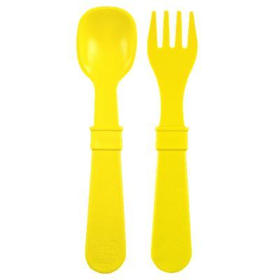 Set tenedor + cuchara infantil amarillo