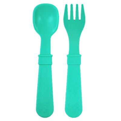 Set tenedor + cuchara infantil aqua