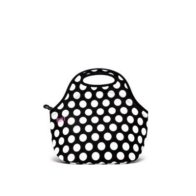 Lonchera tipo bolsa neopreno negro puntos blancos