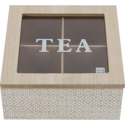 Caja madera 4 div  16x16x7 cm