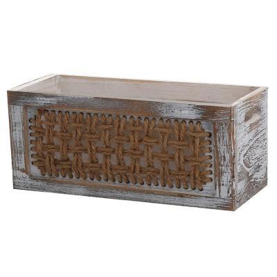 Caja organizadora madera con tejido 17x37x27 cm
